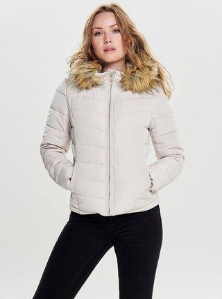 Krémová prešívaná zimná bunda s umelým kožúškom ONLY Ellan