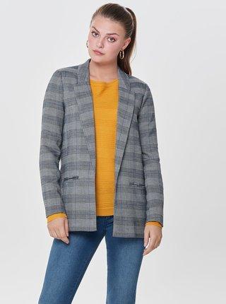 Sivé kockované sako s predĺženou dĺžkou ONLY Money