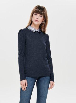 Tmavomodré tričko s dlhým rukávom a čipkovaným golierikom ONLY Wilma