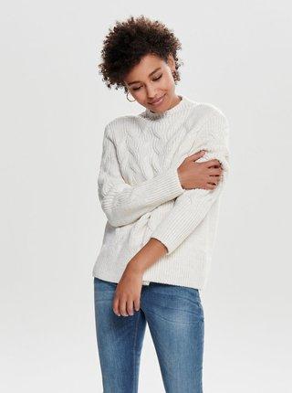 Krémový sveter so stojačikom ONLY Fano