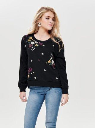 Bluza sport neagra cu broderie florala ONLY Whitney