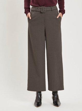 Pantaloni maro in carouri cu cordon VILA Lub