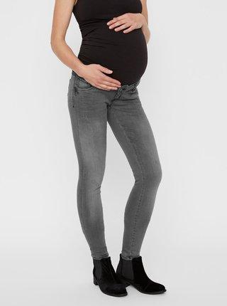 Šedé těhotenské slim džíny s vyšisovaným efektem Mama.licious