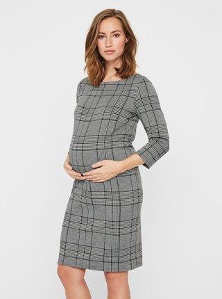 Sivé tehotenské vzorované šaty s 3/4 rukávom Mama.licious Nataly