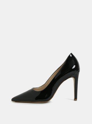 Pantofi negri din piele naturala cu aspect lucios si toc cui Högl