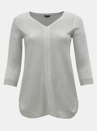 Svetlosivý tenký sveter s 3/4 rukávom M&Co Plus