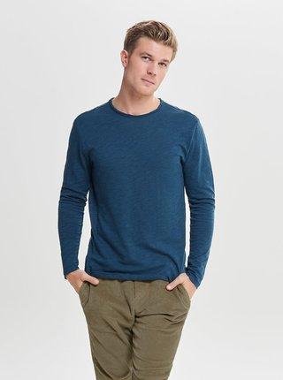 Modré melírované tričko ONLY & SONS Albert
