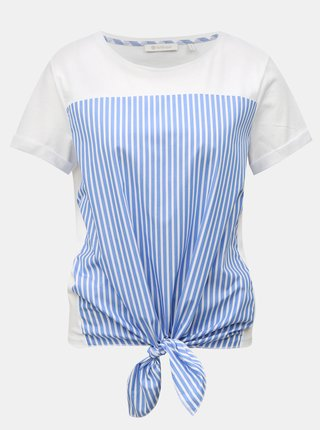 Tricou albastru-alb in dungi cu nod Rich & Royal