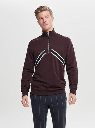 Bluza sport bordo cu dungi si fermoar ONLY & SONS Wyatt