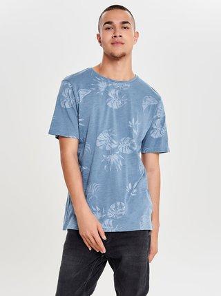 Modré tričko s potiskem ONLY & SONS Malik