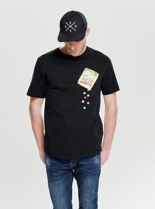 Čierne tričko s krátkym rukávom a vreckom ONLY & SONS Harold Printed
