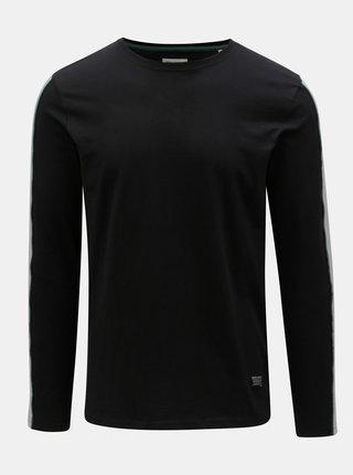 Čierne tričko s pruhom na rukáve Shine Original Track