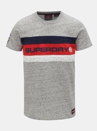Šedé pánské žíhané tričko s potiskem Superdry Trophy
