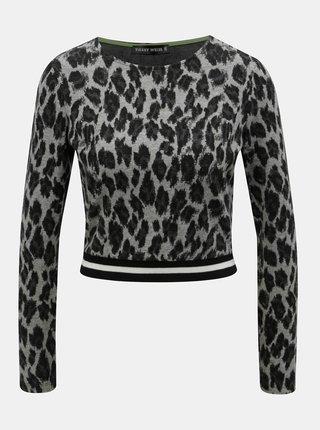 Šedý lehký krátký svetr s leopardím vzorem TALLY WEiJL