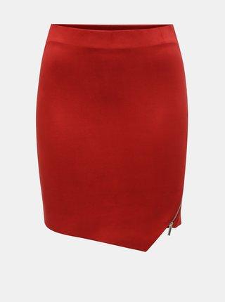 Červená zamatová sukňa TALLY WEiJL
