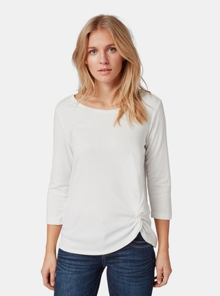 Bílé dámské tričko s řasením na boku Tom Tailor