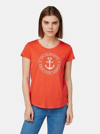Tricou rosu de dama cu imprimeu Tom Tailor Denim