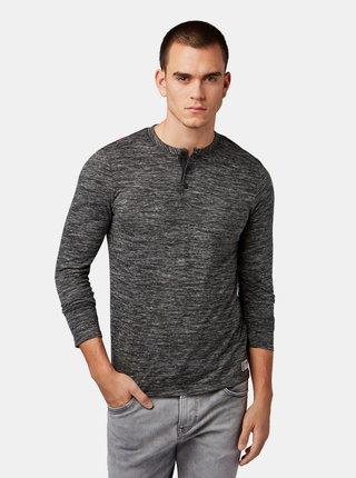 Tmavosivé pánske melírované tričko na gombíky Tom Tailor Denim