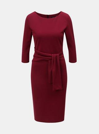 Vínové puzdrové šaty s 3/4 rukávom ZOOT