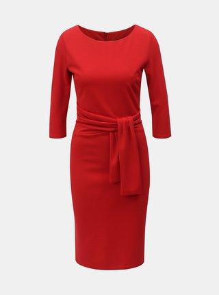 Červené puzdrové šaty s 3/4 rukávom ZOOT