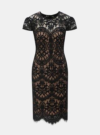 Béžovo–čierne čipkované šaty ZOOT