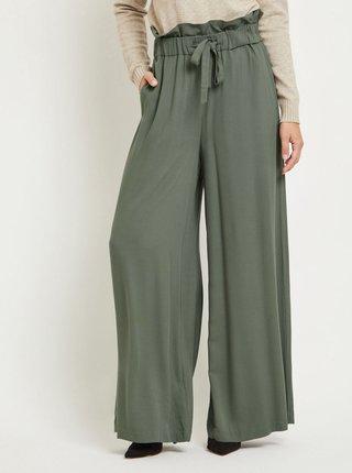 Khaki široké kalhoty s gumou v pase VILA Amaly