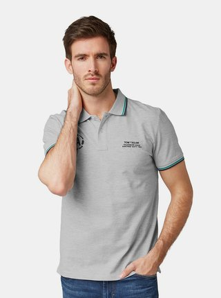Tricou polo barbatesc gri deschis regular fit Tom Tailor