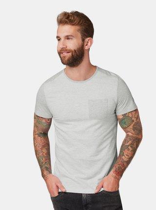 Bielo–sivé pánske vzorované tričko s vreckom Tom Tailor