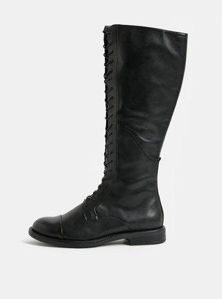 Čierne kožené čižmy so šnurovaním Vagabond Amina