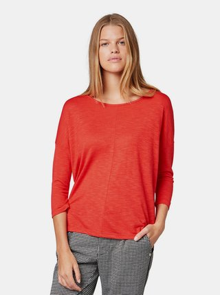 Červené dámské volné tričko s 3/4 rukávem Tom Tailor Denim