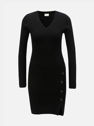 Rochie neagra tricotata cu striatii si nasturi VILA Soldana