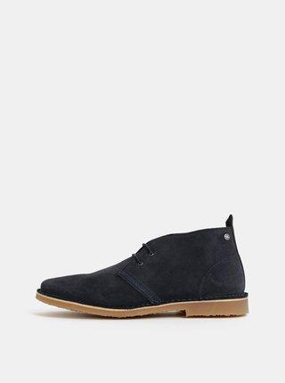 Modré pánské semišové kotníkové boty Jack & Jones Gobi