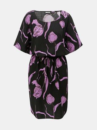 Rochie mov-negru florala cu cordon Jacqueline de Yong Isha
