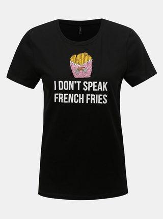 Čierne tričko s potlačou a korálkovou aplikáciou ONLY Tally
