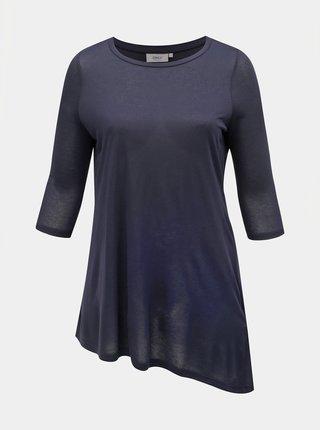 Tmavě modré asymetrické tričko ONLY CARMAKOMA Frankie