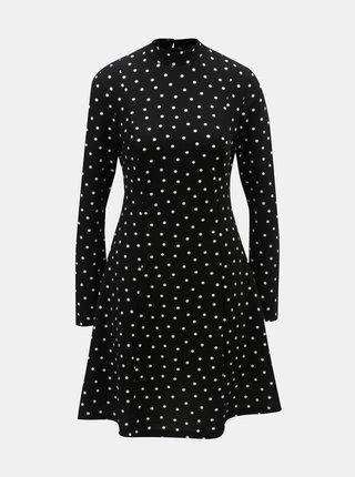 Čierne bodkované šaty so stojačikom Dorothy Perkins