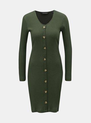 Khaki žebrované pouzdrové šaty s ozdobnými knoflíky Dorothy Perkins