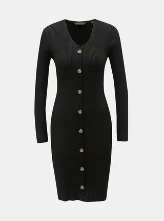 Čierne rebrované puzdrové šaty s ozdobnými gombíkmi Dorothy Perkins