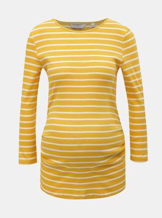 Bílo-žluté pruhované těhotenské tričko s 3/4 rukávem Dorothy Perkins Maternity