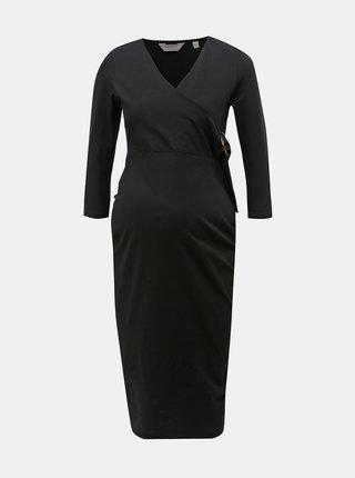 Černé těhotenské pouzdrové šaty s ozdobnou sponou Dorothy Perkins Maternity