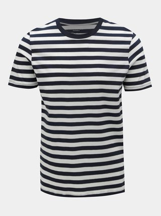 Tricou basic alb-albastru in dungi Selected Homme