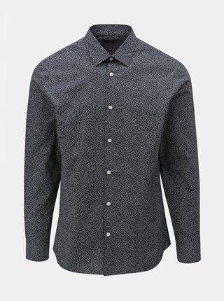 Camasa albastru inchis slim fit cu model Selected Homme Slimpen