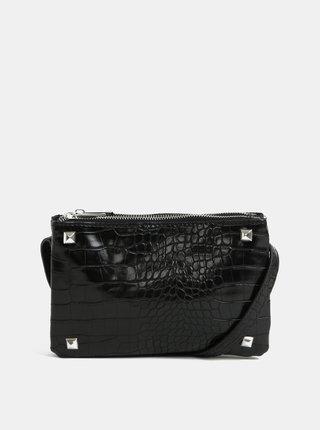 Čierna crossbody kabelka s hadím vzorom Pieces Patricia