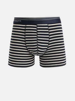 Krémovo-modré pruhované boxerky Selected Homme Classic