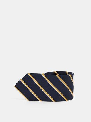 Žluto-modrá pruhovaná hedvábná kravata Selected Homme Noah