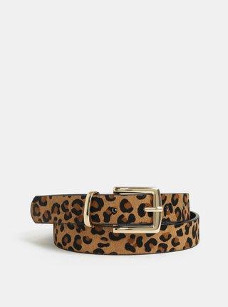 Hnedý kožený opasok s leopardím vzorom Pieces Simo