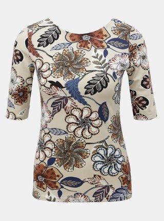 Tricou bej floral cu decolteu la spate Dorothy Perkins
