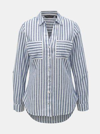 Camasa alb-albastru in dungi cu amestec de in Dorothy Perkins