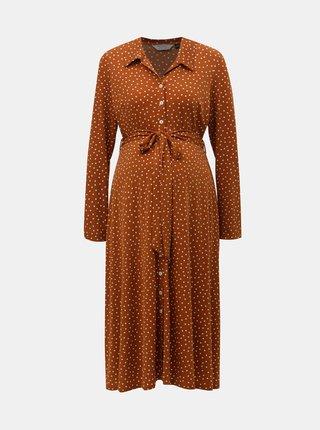 Hnědé puntíkované těhotenské košilové midišaty Dorothy Perkins Maternity