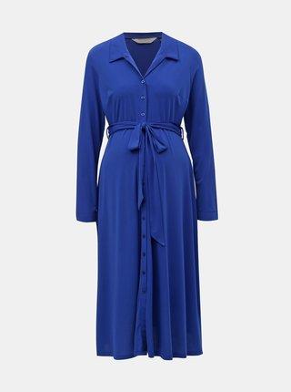 Modré těhotenské košilové midišaty Dorothy Perkins Maternity